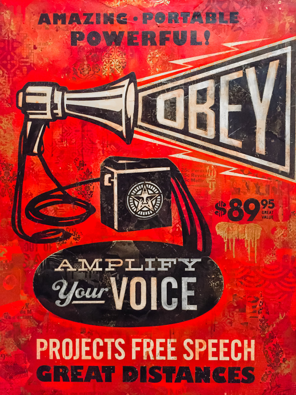 Singapore: Art From The Streets Exhibition at the ArtScience Museum - Megaphone Obey - Shepard Fairey (Obey) - 2012.
