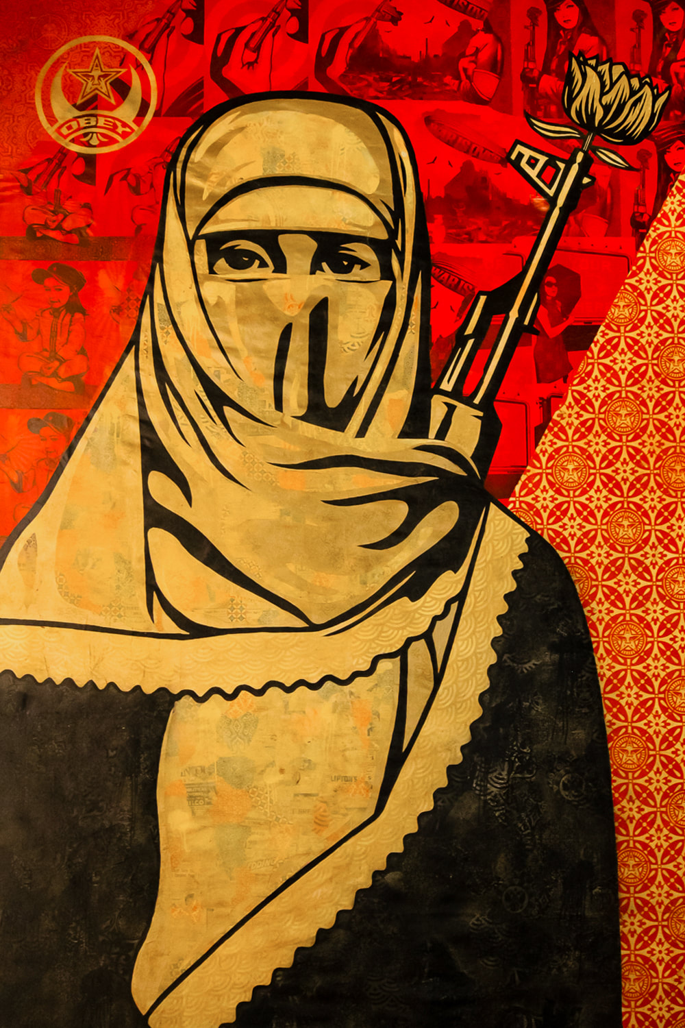 Singapore: Art From The Streets Exhibition at the ArtScience Museum - Detail of Middle East Mural - Shepard Fairey (Obey) - 2009.