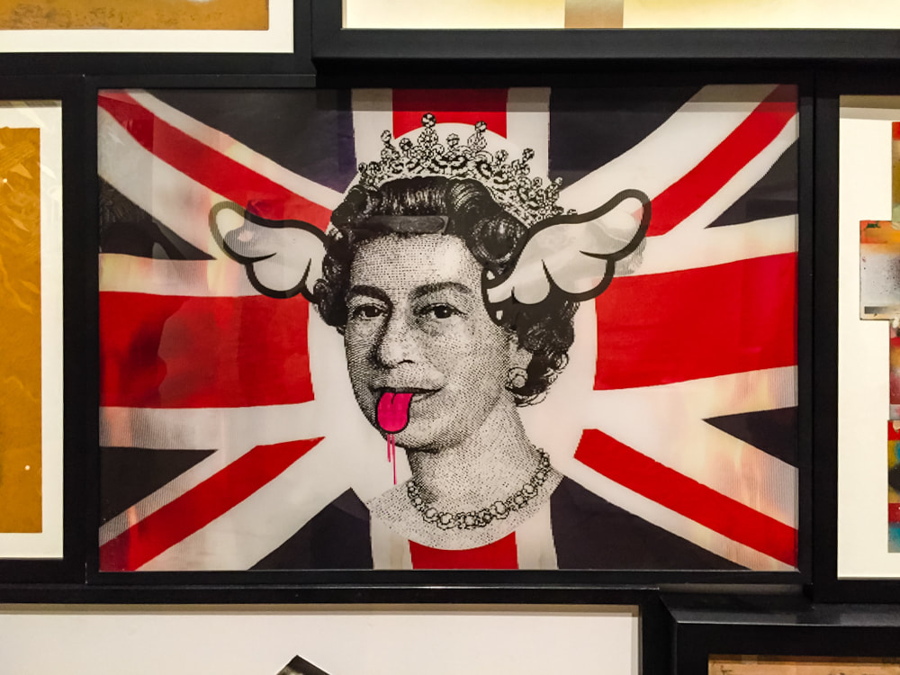 Singapore: Art From The Streets Exhibition at the ArtScience Museum - Holographic Queen detail of Retired Stencil Cluster - D*Face - 2000-2017.