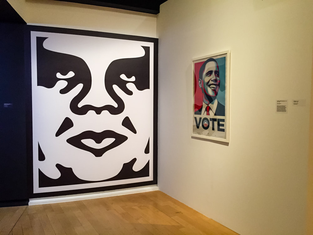 Singapore: Art From The Streets Exhibition at the ArtScience Museum - The beginning of the large collection of Shepard Fairey (Obey) works.