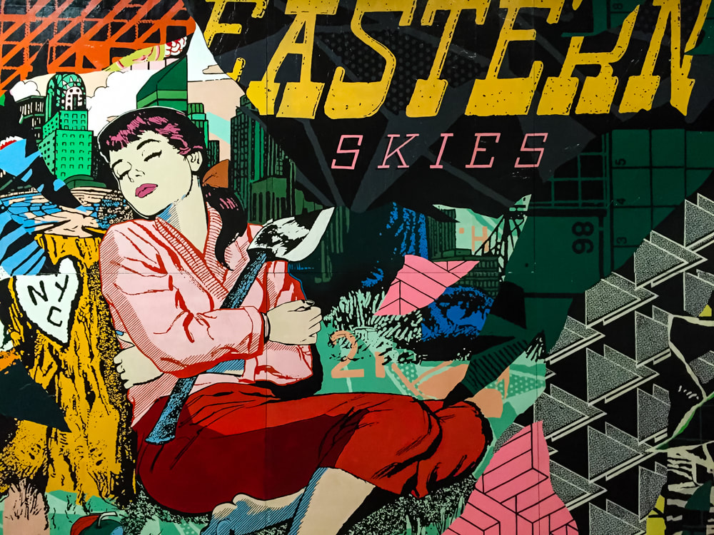 Singapore: Art From The Streets Exhibition at the ArtScience Museum - Detail of Eastern Skies - Faile - 2017.