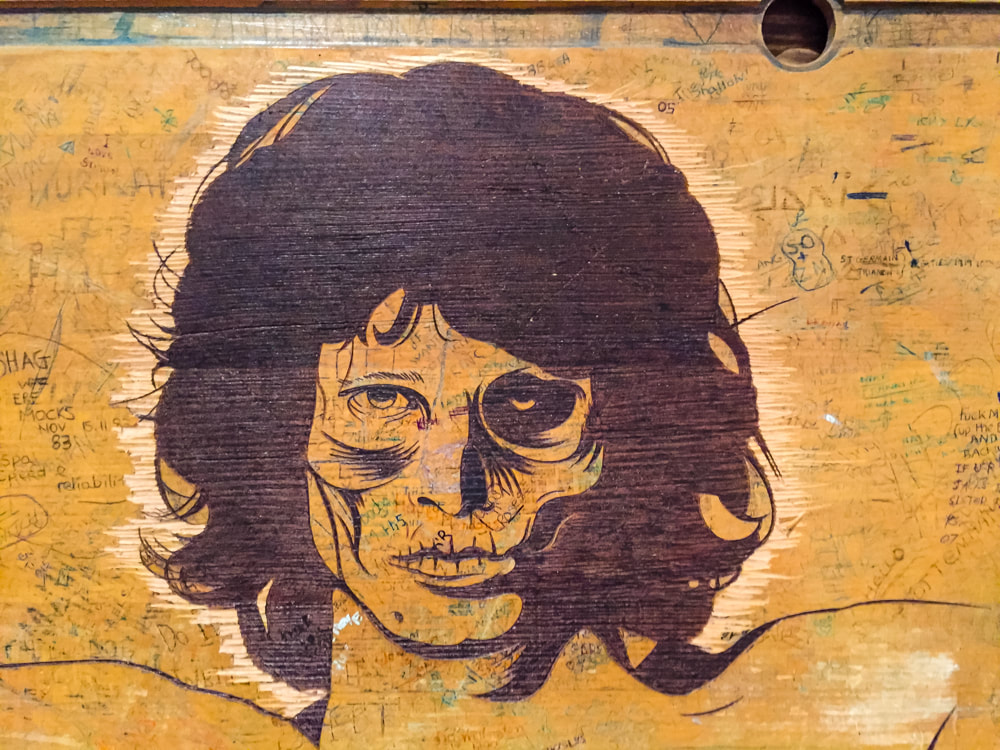 Singapore: Art From The Streets Exhibition at the ArtScience Museum - Jim Morrison detail of Retired Stencil Cluster - D*Face - 2000-2017.
