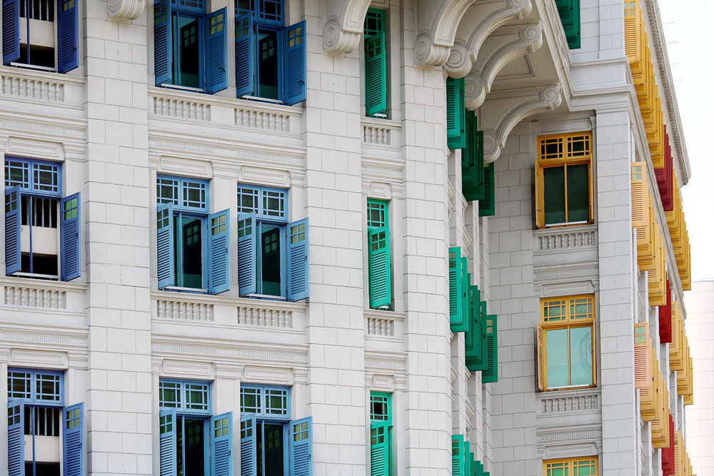 The colourful shutters on the windows of the Ministry of Information, Communications and Arts building in Singapore.