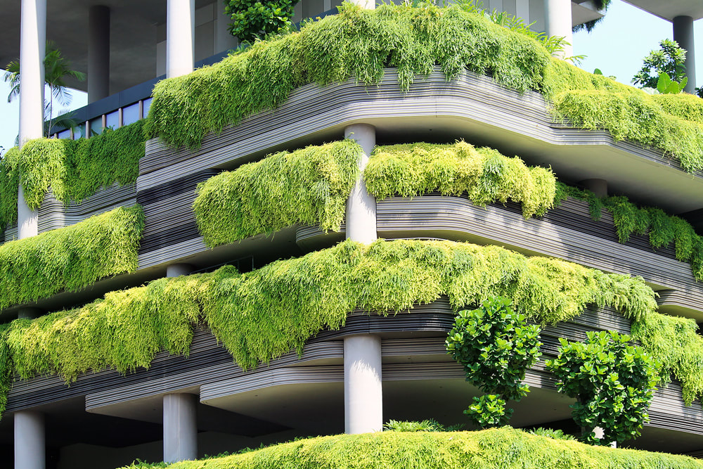 A fraction of the impressive vertical gardens applied to the exterior of the PARKROYAL on Pickering hotel, in Singapore.