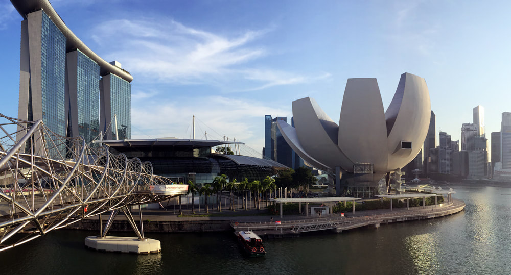 Singapore City, captured from the Helix Bridge, and overlooking the Marina Bay Sands Hotel and the ArtScience Museum.
