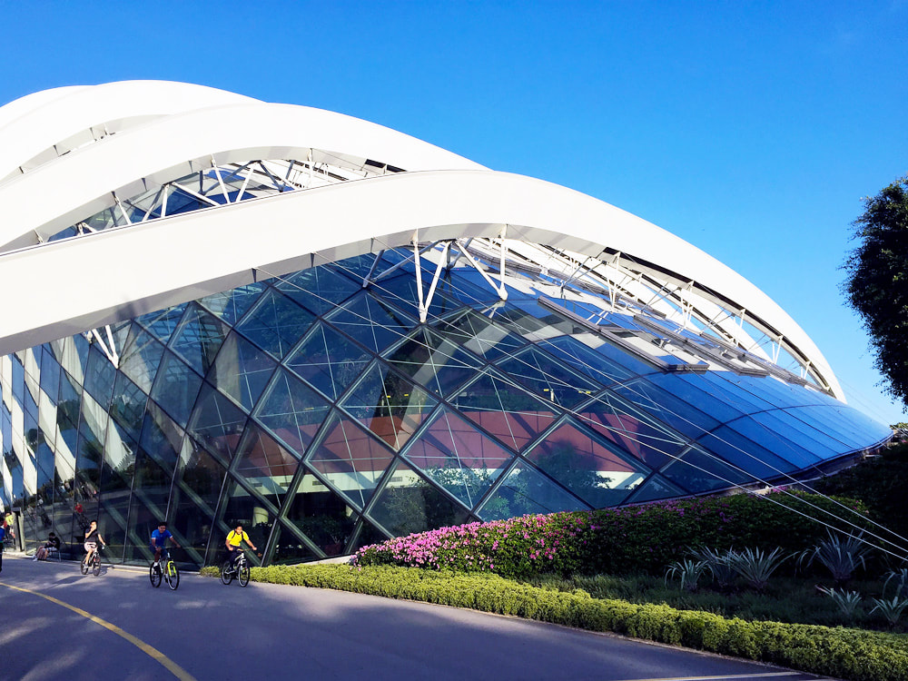 The exterior of the Flower Dome at Gardens by the Bay, Singapore.