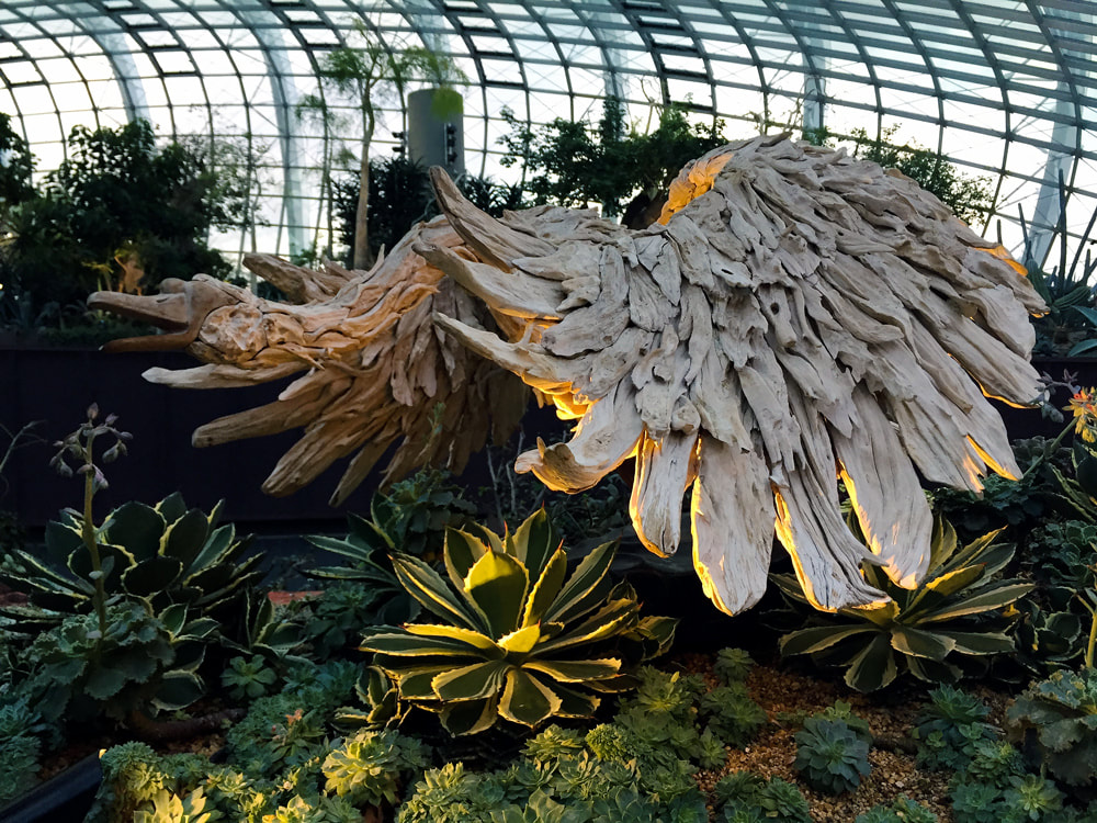A driftwood sculpture by James Doran. Located inside the Flower Dome at Gardens by the Bay, Singapore.