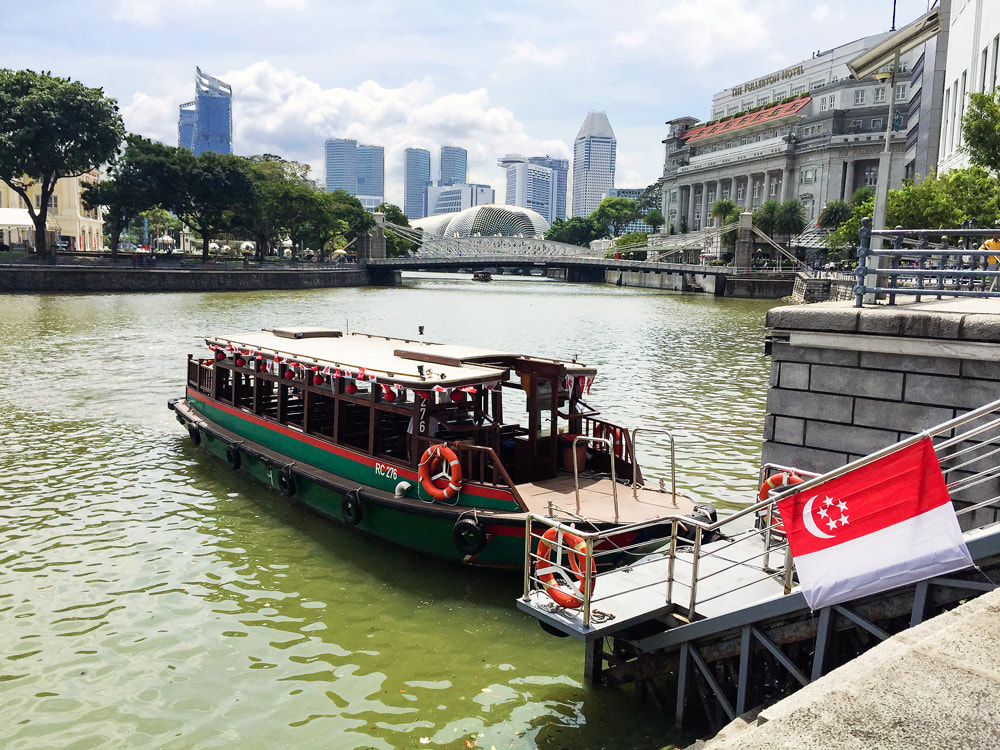 One of Singapore River Cruise's heritage bumboats - Singapore River Cruises.