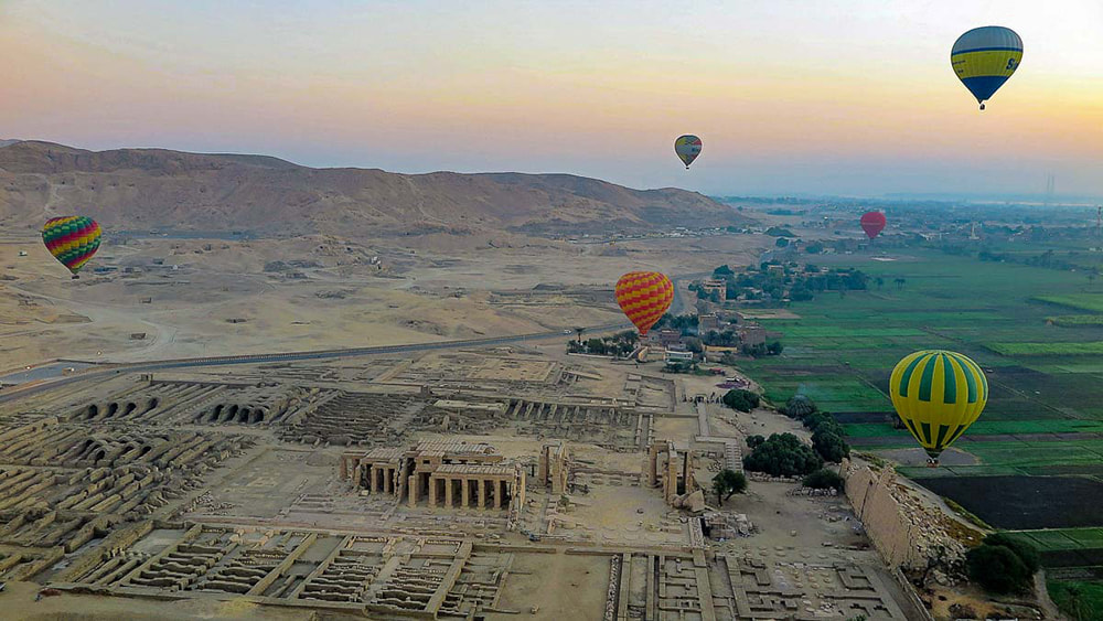 10 of the Best Places in the World to go Hot Air Ballooning: Ramesseum, Luxor, Egypt.